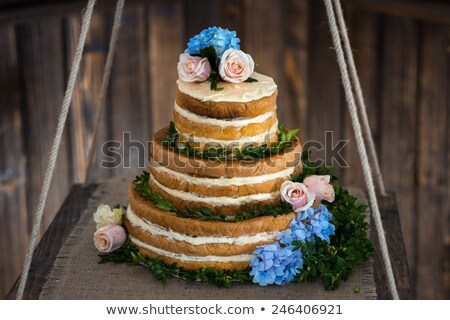 brown and creamy white 3 tier wedding cake  Stock photo © Mikola249