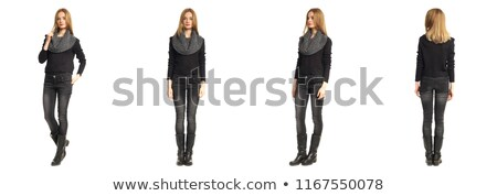 Portret jonge mooie vrouw grijs model achtergrond Stockfoto © deandrobot