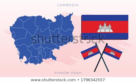 Térkép zászló gomb királyság Kambodzsa vektor Stock fotó © Istanbul2009