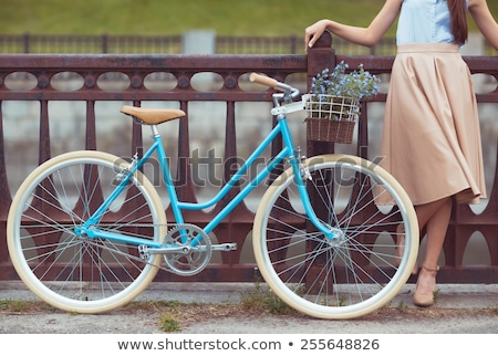 fiets · bloemen · Rood · vintage · mand - stockfoto © vlad_star