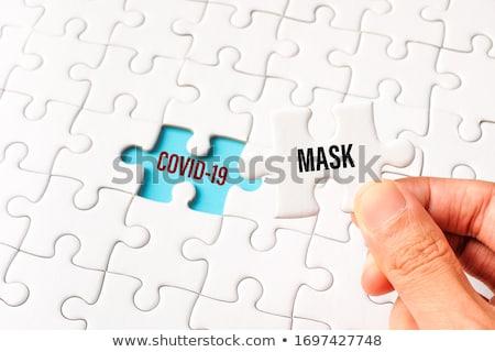 health   white word on blue puzzles stock photo © tashatuvango