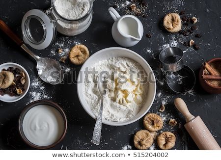 Vijg cookies melk plaat glas Stockfoto © JamiRae