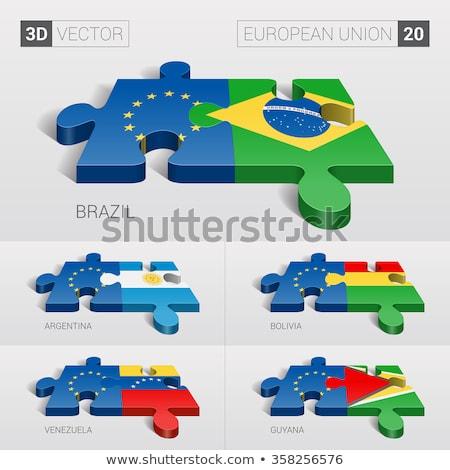Europeu união Venezuela bandeiras quebra-cabeça isolado Foto stock © Istanbul2009