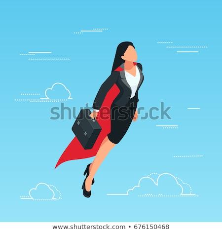 Iş kadını işadamı uçan süper kahraman kırmızı Stok fotoğraf © anbuch