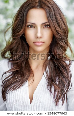 Gyönyörű barna hajú nő fenséges haj portré Stock fotó © nenetus