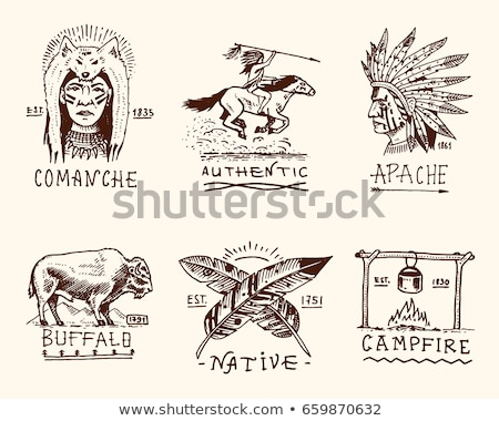 Collection of hand drawn wild west american indian icons Stock photo © netkov1