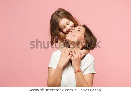 ストックフォト: 母親 · 娘 · 食べ · ピザ · ホーム · 女性