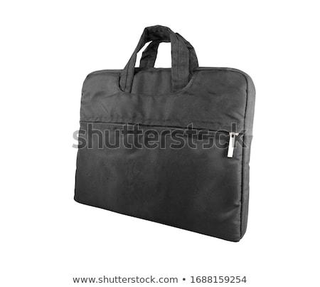 Foto stock: Negro · bolsa · aislado · blanco · mano · escuela