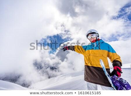 Mulher jovem em pé equilíbrio snowboard fresco cair Foto stock © dash