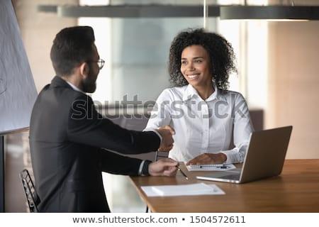 бизнесмен предлагающий рукопожатие азиатских красивый белый Сток-фото © zdenkam