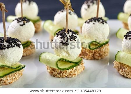 Nyárs krumpli húsgombócok bot ebéd föld Stock fotó © Digifoodstock