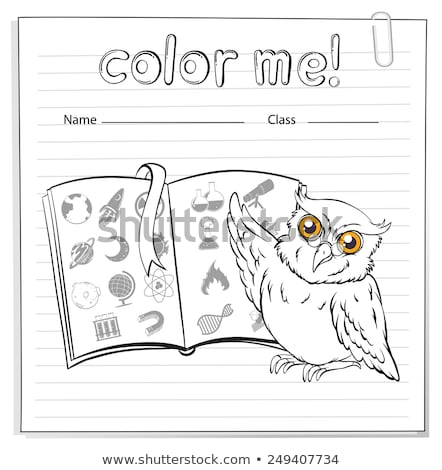 A worksheet showing an owl and a book Stock photo © bluering
