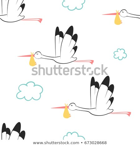 seamless pattern of flying storks carrying a baby stock photo © adrian_n