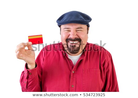 homem · alguém · vermelho · cartão · isolado - foto stock © ozgur