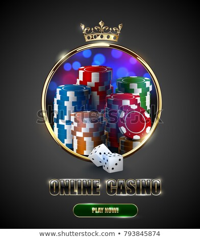 Round casino roulette golden frame with crown, stack of poker chips and white dice blue background Stock photo © Iaroslava
