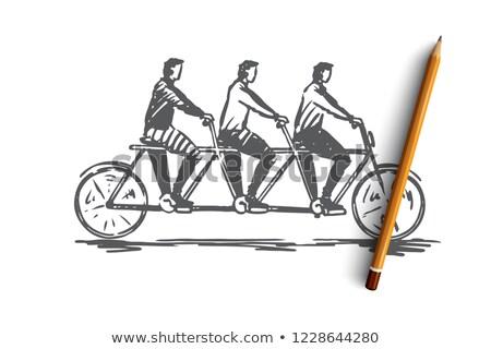 férfi · lovaglás · bicikli · park · kerékpáros · bicikli - stock fotó © bluering
