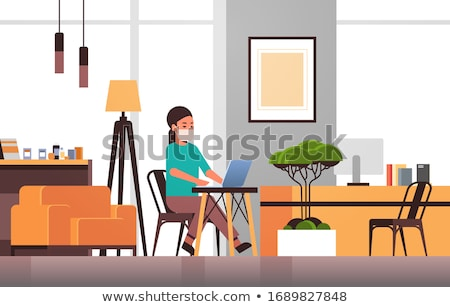 Girl sitting on table Stock photo © deandrobot