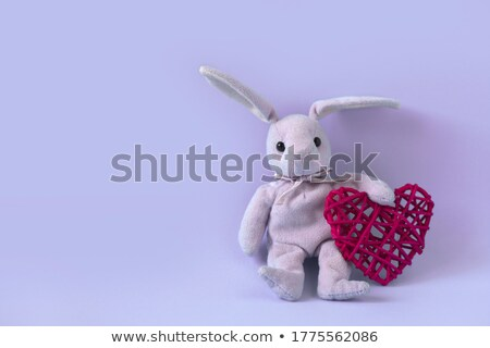 valentines day symbol fluffy bunny ears and red heart stock photo © orensila