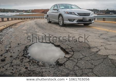 Cidade imagem rachado asfalto quebrado Foto stock © psychoshadow