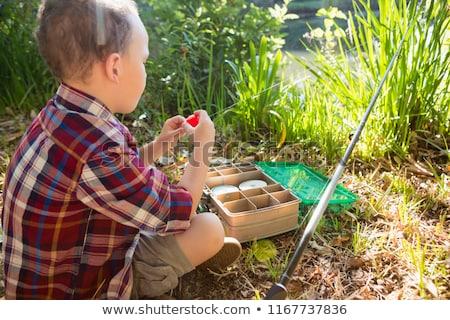 Fiú csali erdő közelkép halászat ünnep Stock fotó © wavebreak_media