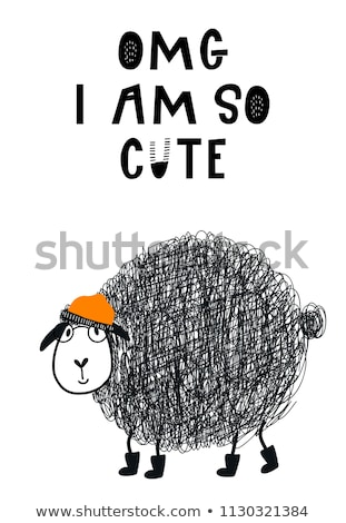 Küçük kız siyah koyun örnek kız moda Stok fotoğraf © bluering