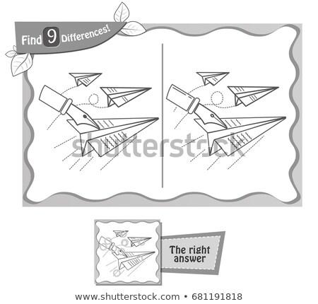 Jeu noir trouver différences avion en papier enfants Photo stock © Olena
