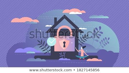 Veilig bescherming dieven illustratie vrouw deur Stockfoto © adrenalina
