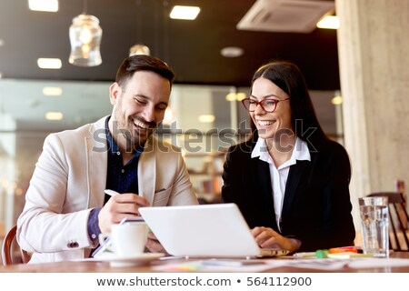Stock photo: Man and woman in office cafe