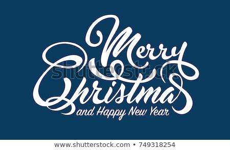 Noel · happy · new · year · afiş · kırmızı · arka · plan · baskı - stok fotoğraf © Leo_Edition