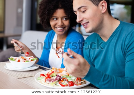 Vrolijk vrienden gezonde lunch licht meisje Stockfoto © majdansky