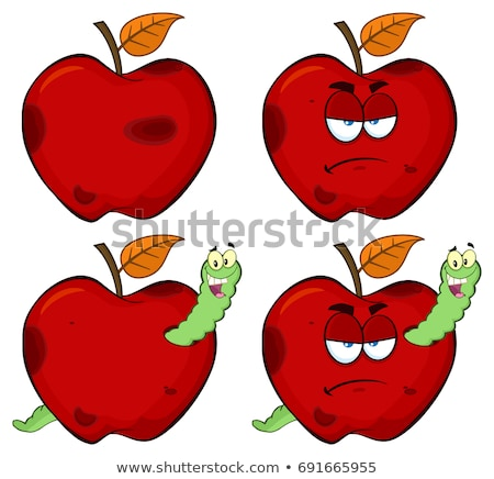 happy worm in a grumpy rotten red apple fruit cartoon mascot characters stock photo © hittoon