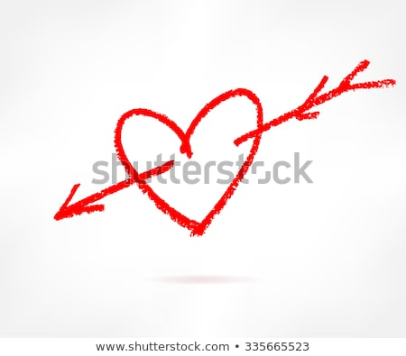 Hearts with cupid arrow hand drawn sketch icon. Stock photo © RAStudio