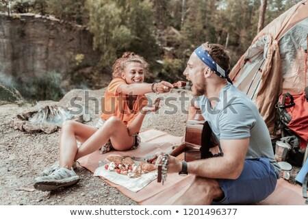 Urwisko · gry · gitara · górskich · uśmiechnięty - zdjęcia stock © is2