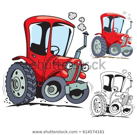 cartoon · landbouwer · trekker · glimlach · ontwerp · werken - stockfoto © krisdog