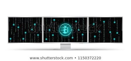 Drie witte mijnbouw bitcoin computers code Stockfoto © romvo