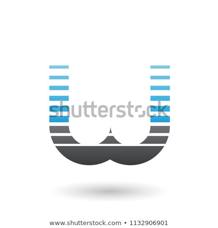 Mavi siyah w harfi ikon yatay Stok fotoğraf © cidepix