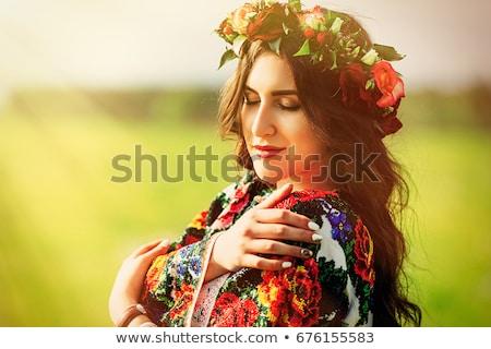 elegancki · kobieta · utrzymać · czerwona · róża · blond · czarna · sukienka - zdjęcia stock © CandyboxPhoto