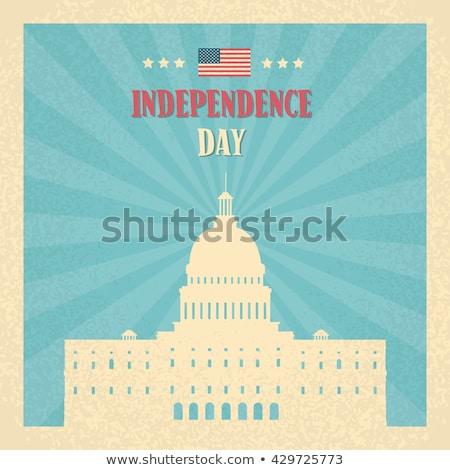 Boldog nap poszter Washington csíkok csillagok Stock fotó © robuart