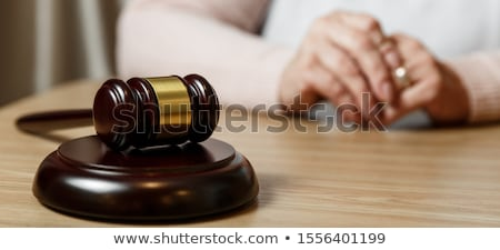 Hands of wife, husband signing decree of divorce, dissolution, c Stock photo © snowing