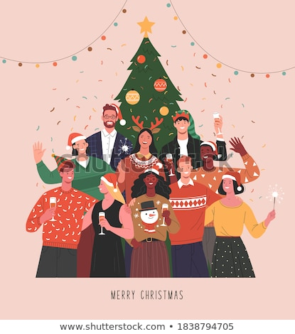 Christmas card of diverse people friend group hug Stock photo © cienpies