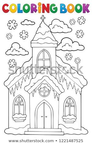 塗り絵の本 冬 教会建築 図書 建物 クロス ストックフォト © clairev