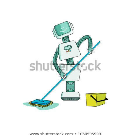 A robot with a mop for household cleaning isolated on white background. Vector cartoon close-up illu Stock photo © Lady-Luck