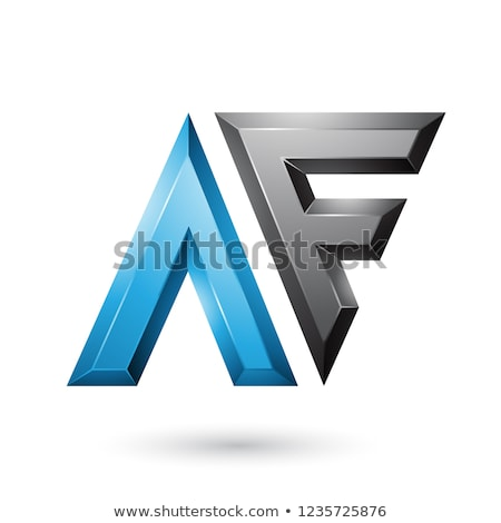 Blue and Black Glossy Dual Letters of Letters A and F Vector Ill Stock photo © cidepix
