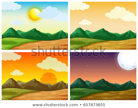 Four scenes of sunset in countryside Stock photo © colematt