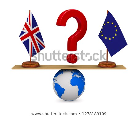 flag EU and  Great Britain on scales. Isolated 3D illustration Stock photo © ISerg