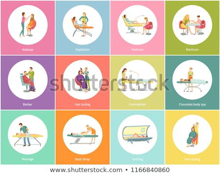 makeup and visagiste depilation icons set vector stock photo © robuart