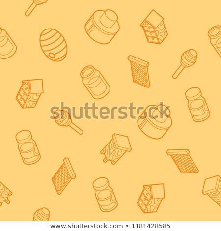 miele · pot · illustrazione · vetro · completo · colore - foto d'archivio © netkov1