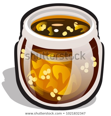 Glass transparent jar with jam made of physalis isolated on white background. Vector cartoon close-u stock photo © Lady-Luck