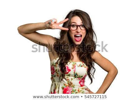 Alegre bonitinho morena óculos paz Foto stock © studiolucky