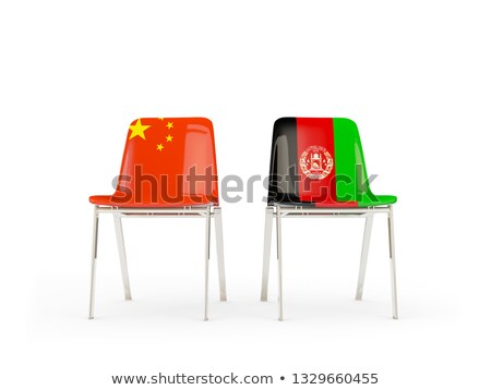 Iki sandalye bayraklar Çin Afganistan yalıtılmış Stok fotoğraf © MikhailMishchenko